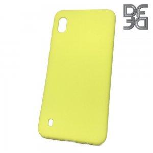 DF Мягкий силиконовый чехол для Samsung Galaxy A10 с микрофибровой подкладкой желтый