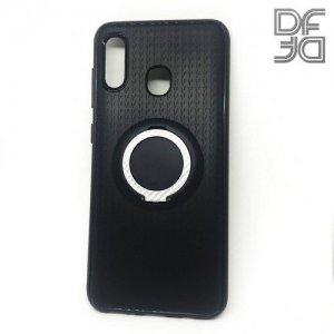 DF Силиконовый чехол с кольцом для пальца для Samsung Galaxy A30 / A20 встроенный металлический лист для магнитного держателя Черный