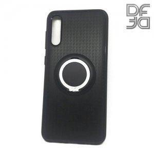 DF Силиконовый чехол с кольцом для пальца для Samsung Galaxy A50 / A30s встроенный металлический лист для магнитного держателя Черный