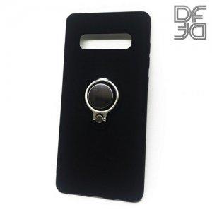 DF Силиконовый чехол с кольцом для пальца для Samsung Galaxy S10 Plus встроенный металлический лист для магнитного держателя Черный