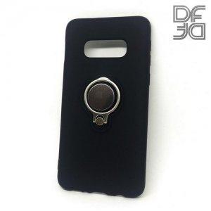 DF Силиконовый чехол с кольцом для пальца для Samsung Galaxy S10e встроенный металлический лист для магнитного держателя Черный