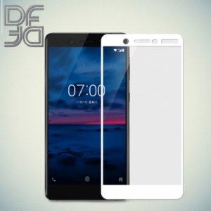 DF Закаленное защитное стекло на весь экран для Nokia 7 - Белый