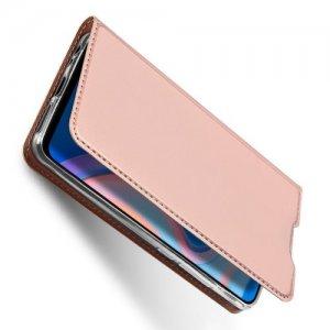 Dux Ducis чехол книжка для Huawei Nova 5T с магнитом и отделением для карты - Розовое Золото