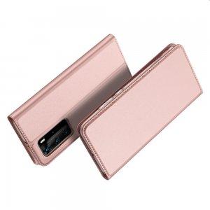 Dux Ducis чехол книжка для Huawei P40 Pro с магнитом и отделением для карты - Розовый