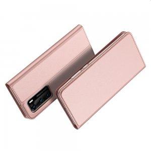 Dux Ducis чехол книжка для Huawei P40 с магнитом и отделением для карты - Розовый