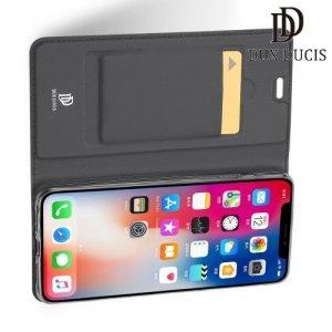 Dux Ducis чехол книжка для iPhone XS Max с магнитом и отделением для карты - Черный