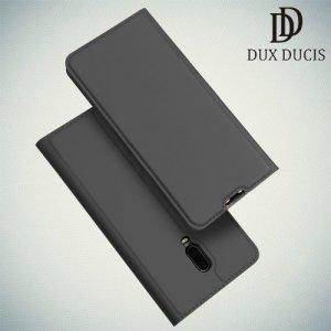 Dux Ducis чехол книжка для OnePlus 7 / OnePlus 6T с магнитом и отделением для карты - Тёмно серый