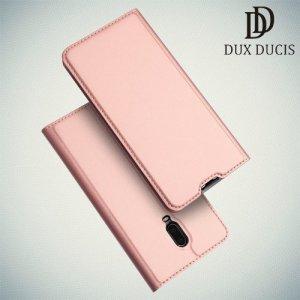 Dux Ducis чехол книжка для OnePlus 7 / OnePlus 6T с магнитом и отделением для карты - Розовое Золото