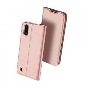 Dux Ducis чехол книжка для Samsung Galaxy A01 с магнитом и отделением для карты - Светло-Розовый