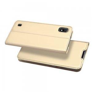 Dux Ducis чехол книжка для Samsung Galaxy A10 с магнитом и отделением для карты - Золотой