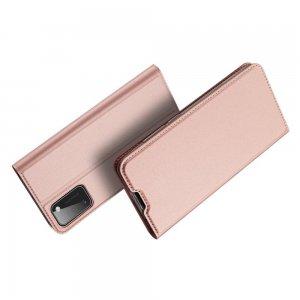 Dux Ducis чехол книжка для Samsung Galaxy A41 с магнитом и отделением для карты - Розовый