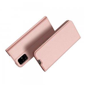 Dux Ducis чехол книжка для Samsung Galaxy A51 с магнитом и отделением для карты - Розовое Золото