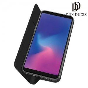 Dux Ducis чехол книжка для Samsung Galaxy A6s с магнитом и отделением для карты - Черный