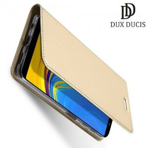 Dux Ducis чехол книжка для Samsung Galaxy A7 2018 SM-A750F с магнитом и отделением для карты - Золотой