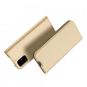 Dux Ducis чехол книжка для Samsung Galaxy A71 с магнитом и отделением для карты - Золотой