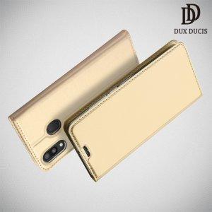 Dux Ducis чехол книжка для Samsung Galaxy M20 с магнитом и отделением для карты - Золотой