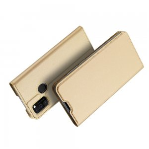 Dux Ducis чехол книжка для Samsung Galaxy M30s / M21 с магнитом и отделением для карты - Золотой
