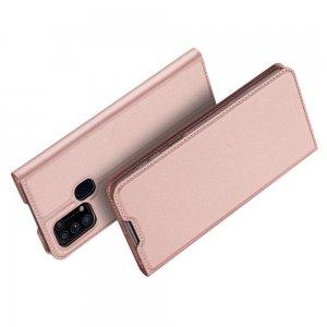 Dux Ducis чехол книжка для Samsung Galaxy M31 с магнитом и отделением для карты - Розовый