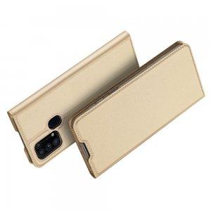 Dux Ducis чехол книжка для Samsung Galaxy M31 с магнитом и отделением для карты - Золотой