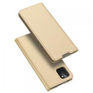 Dux Ducis чехол книжка для Samsung Galaxy Note 10 Lite с магнитом и отделением для карты - Золотой