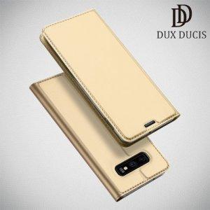 Dux Ducis чехол книжка для Samsung Galaxy S10e с магнитом и отделением для карты - Золотой