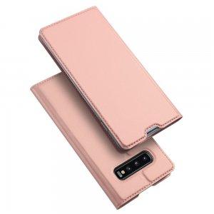 Dux Ducis чехол книжка для Samsung Galaxy S10 Plus с магнитом и отделением для карты - Розовый