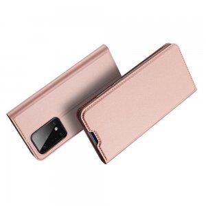 Dux Ducis чехол книжка для Samsung Galaxy S20 Ultra с магнитом и отделением для карты - Светло-Розовый