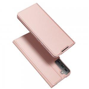 Dux Ducis чехол книжка для Samsung Galaxy S21 с магнитом и отделением для карты - Светло Розовый