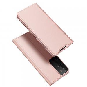 Dux Ducis чехол книжка для Samsung Galaxy S21 Ultra с магнитом и отделением для карты - Светло Розовый