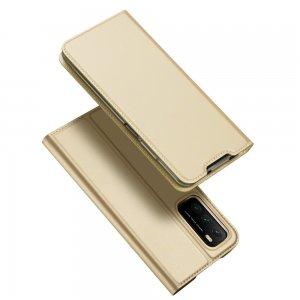 Dux Ducis чехол книжка для Xiaomi Poco M3 с магнитом и отделением для карты - Золотой