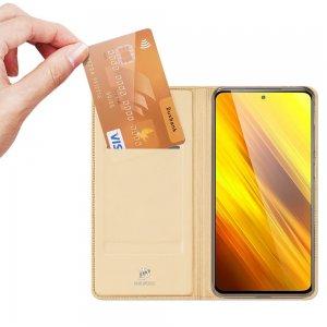Dux Ducis чехол книжка для Xiaomi Poco X3 NFC с магнитом и отделением для карты - Золотой