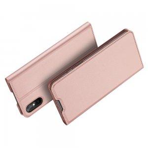 Dux Ducis чехол книжка для Xiaomi Redmi 9A с магнитом и отделением для карты - Розовый