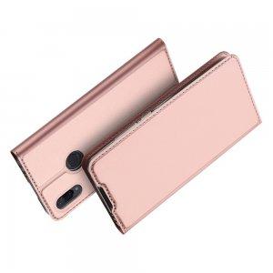 Dux Ducis чехол книжка для Xiaomi Redmi Note 7 / Note 7 Pro с магнитом и отделением для карты - Розовое Золото