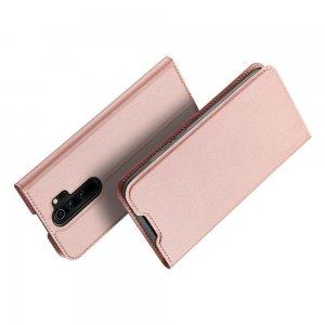 Dux Ducis чехол книжка для Xiaomi Redmi Note 8 Pro с магнитом и отделением для карты - Светло-Розовый