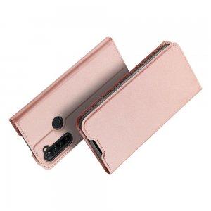 Dux Ducis чехол книжка для Xiaomi Redmi Note 8 с магнитом и отделением для карты - Розовое Золото