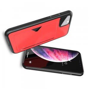 DUX DUCIS Тонкий Чехол для Телефона iPhone 11 Pro с Покрытием из Искусственной Кожи Красный