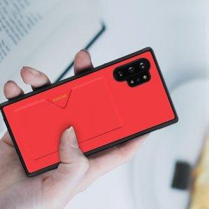 DUX DUCIS Тонкий Чехол для Телефона Samsung Galaxy Note 10 Plus / 10+ с Покрытием из Искусственной Кожи Красный
