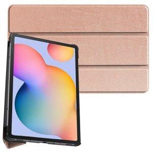 Двухсторонний чехол книжка для Samsung Galaxy Tab S6 Lite 10.4 с подставкой - Светло-Розовый