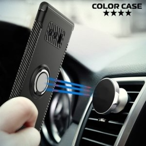 Двухслойный чехол для Samsung Galaxy Note 8 металлической пластиной и кольцом - Черный