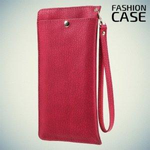 Элегантный чехол кошелек для телефона под кожу с карманом на молнии и отсеками для карточек - Красный