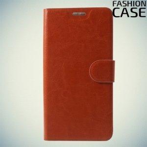 Fashion Case чехол книжка флип кейс для Alcatel A7 5090Y - Коричневый