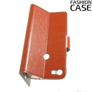 Fashion Case чехол книжка флип кейс для Alcatel Idol 5 - Коричневый