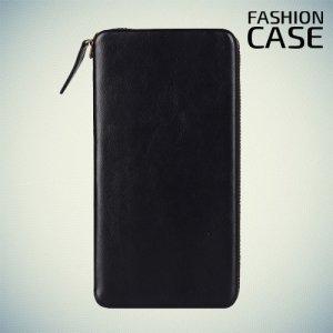 Fashion Case универсальный чехол футляр на молнии из искусственной кожи с магнитным креплением для телефона 5.5-6 дюймов - Черный