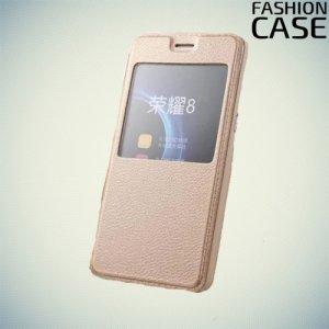 Fasion Case чехол книжка флип кейс для Huawei Honor 8 - Золотой
