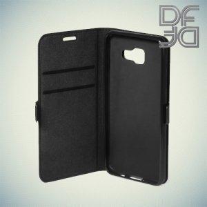 DF чехол книжка флип кейс для Samsung Galaxy A7 2016 SM-A710F - Черный