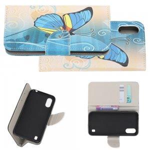 Флип чехол книжка для Samsung Galaxy A01 с рисунком голубая бабочка