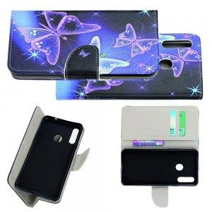 Флип чехол книжка для Samsung Galaxy A20s с рисунком фиолетовые бабочки