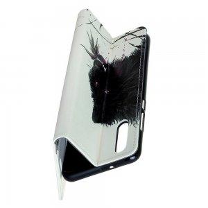 Флип чехол книжка для Samsung Galaxy A70s с рисунком черный