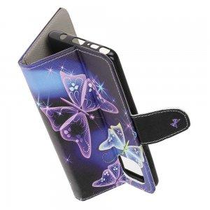 Флип чехол книжка для Samsung Galaxy Note 10 Lite с рисунком фиолетовые бабочки