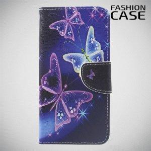 Флип чехол книжка для Xiaomi Redmi Note 8 Pro с рисунком бабочки на чёрном